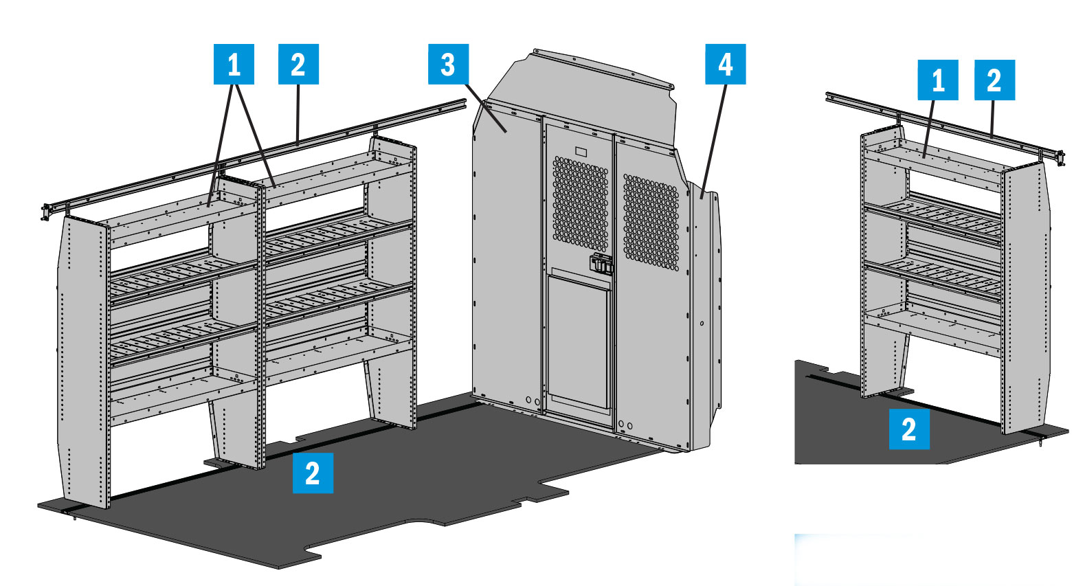 Triple Shelf Starter Package, Gray, Transit High Roof, 148